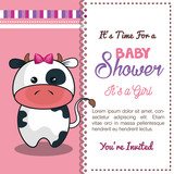 invitation baby shower card with cow desing vector illustration eps 10