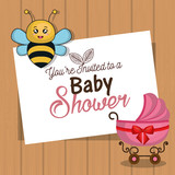invitation baby shower card with bee and carriage desing vector illustration eps 10