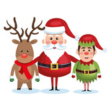 santa claus reindeer and elf christmas vector illustration eps 10