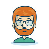 character man bearded hipster isolated vector illustration eps 10
