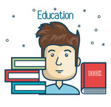 cartoon student education books read design vector illustration graphic
