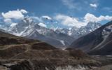 Mountain landscape from Thukla pass, Everest region