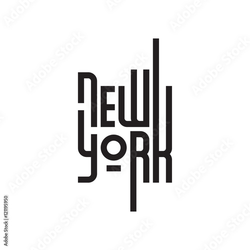 New York sign, typographic design element. Vector illustration EPS 10 isolated on white background