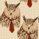 Vector sketch of owl in tie. Seamless pattern