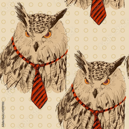 Vector sketch of owl in tie. Seamless pattern - 121197102