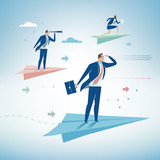 Competition. Business persons balancing on the paper airplanes. Business vector concept illustration - 121197319