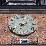 Clock on Hall Tower on Main Market Square , Krakow, Poland