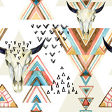 Abstract watercolor animal skull and geometric ornament seamless pattern.