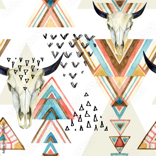 Abstract watercolor animal skull and geometric ornament seamless pattern. - 121198545
