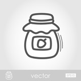 Jam jar outline icon. Harvest. Thanksgiving vector