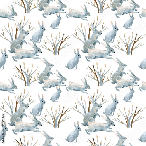 Rabbit in winter. Watercolor seamless pattern - 121202546