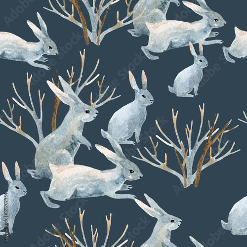 Cotton fabric Rabbit in winter. Watercolor seamless pattern