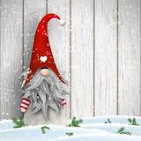 Scandinavian christmas traditional gnome, Tomte, illustration