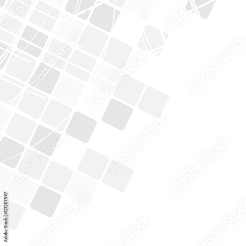 Vector geometric pattern. Modern texture in monochrome. Grey grid. Stylish tiles of squares. Abstract background on the book cover, brochure, flyer or website. - 121207597
