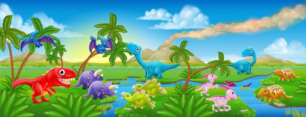 Cute Cartoon Dinosaur Scene Landscape