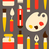 Cute colorful pattern with painting tools.  Flat style