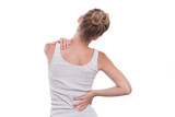 Woman with back pain, isolated on white background - 121215902