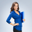 Businesswoman with blue folder