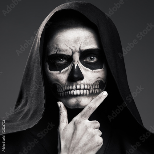 Scary Death Ponders Supporting His Head Arm. Realistic Skull Mak Poster
