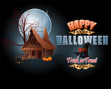 Holiday, background with stylized 3d text and the witch