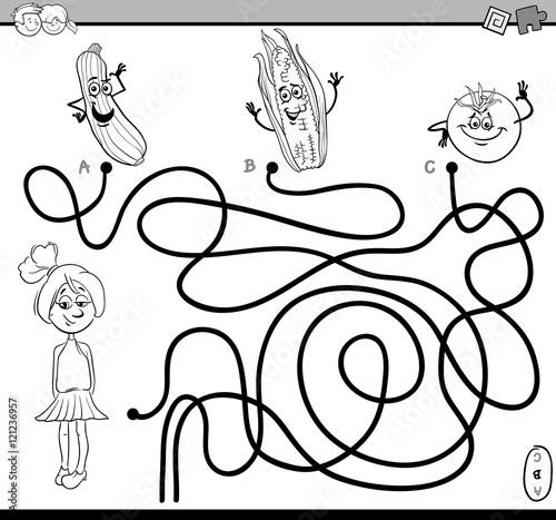 path maze task coloring book