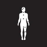 flat icon in black and white style Ebola symptoms pain