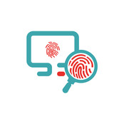 Fingerprint icon on pc laptop vector illustration.