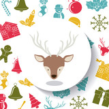 Reindeer inside circle icon. Merry Christmas season and decoration theme. Colorful design. Vector illustration