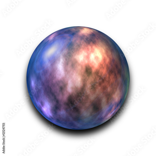 Isolated abstract nebula and galaxy in the glass ball on white background with c Poster