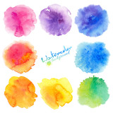 Rainbow colors watercolor paint stains vector backgrounds set - 121249137