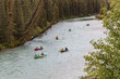 Group of Canoeists on a River Through a Forest