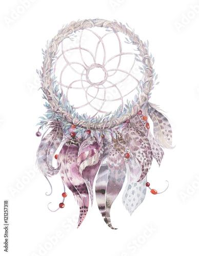 Isolated Watercolor decoration bohemian dreamcatcher. Boho feath - 121257318