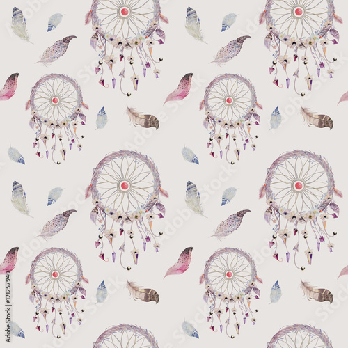 Dreamcatcher and feather pattern. Watercolor bohemian decoration - 121257940