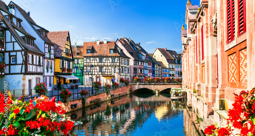 Fotobehang Freesurf Beautiful view of colorful romantic city Colmar, France, Alsace