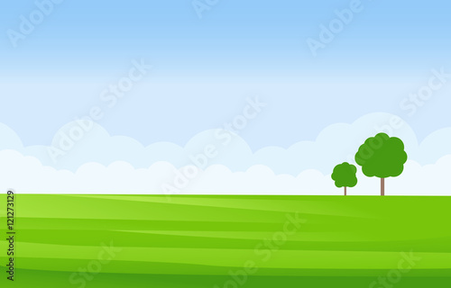 Aluminium Blauwe hemel Green Landscape Vector