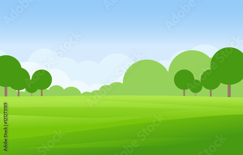 Fotobehang Blauwe hemel Green Landscape Vector