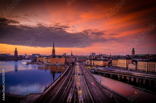 Fotobehang Stockholm Sunset over Stockholm, Sweden