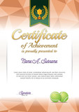 Certificate of Achievement. Tennis Certificate. Portrait.