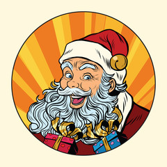 Joyful Santa Claus with gifts