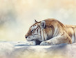 Tiger resting on a rock - 121291515