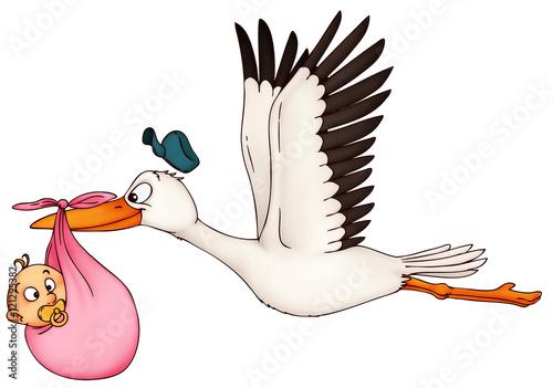 Leinwanddruck Bild Storch, Klapperstorch, Baby, Familie