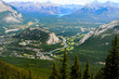 The Bow River Valley seein in an aerial view from the mountain boardwalk accessed by Banff Gondola