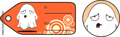 sad ghost cartoon expression giftcard in vector format very easy to edit