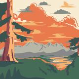 Fototapety Vintage Style Landscape Background Vector