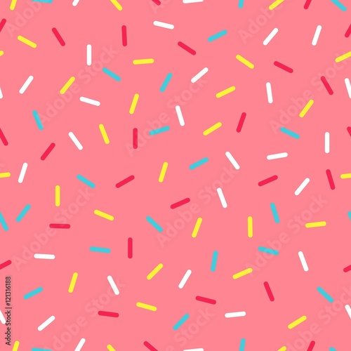 Cotton fabric Seamless background with pink donut glaze. Decorative bright sprinkles texture pattern design