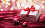 Christmas presents with red ribbon