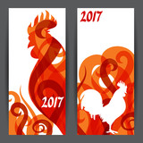 Banners with rooster symbol of 2017 by Chinese calendar