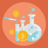 Business concept of alchemy experiment for generating money and ideas with laboratory equipments in flat design
