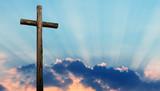 Christian cross over beautiful sky - 121343157
