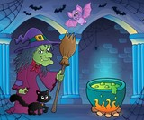 Witch with cat and broom theme image 7